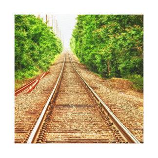 Lienzo Pistas del tren en las maderas