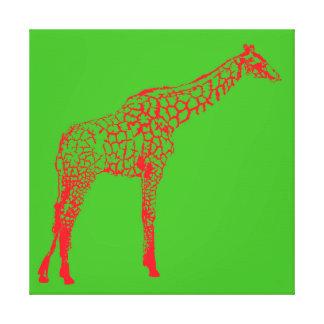 Lienzo Plantilla roja de la jirafa