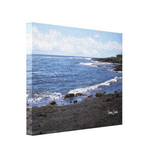 Lienzo Playa negra Hawaii de la arena de Punalu'u