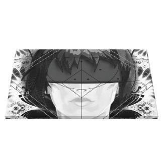 Lienzo Plumas hermosas del fractal de BnW para Motoko