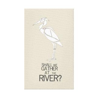 Lienzo Por el río - cita del himno