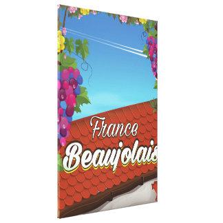 Lienzo Poster del viaje del vino de Francia del