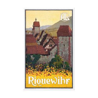 Lienzo Poster del viaje del vintage de Francia Riquewihr