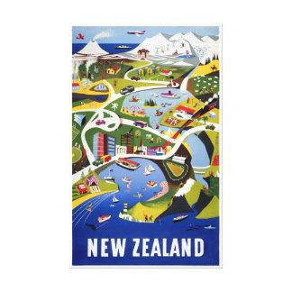 Lienzo Poster del viaje del vintage de Nueva Zelanda