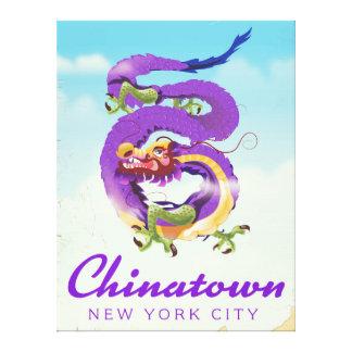 Lienzo Poster del vintage de Chinatown New York City
