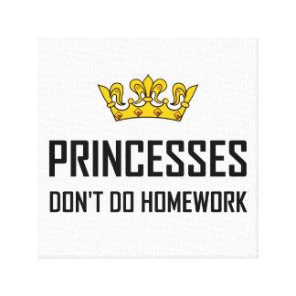Lienzo Princesas Do Not Do Homework