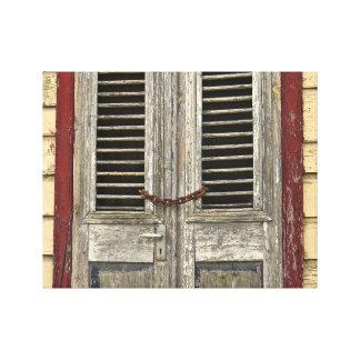 Lienzo Puerta bloqueada - puerta vieja - casa del Caribe