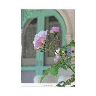 Lienzo Puerta y cabaña verdes del viñedo de Rosa-Martha