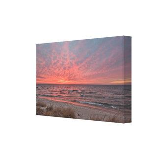 Lienzo Puesta del sol de diciembre en el lago Michigan en