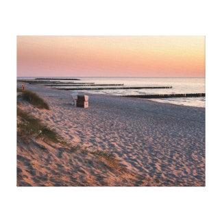 Lienzo Puesta del sol de la playa de Ahrenshoop