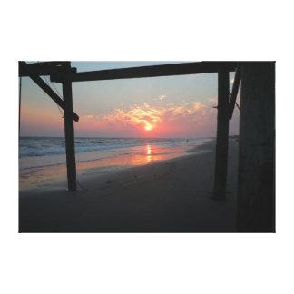 Lienzo Puesta del sol debajo del embarcadero - isla del