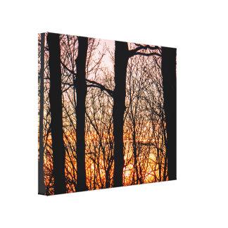 Lienzo Puesta del sol explosiva del invierno