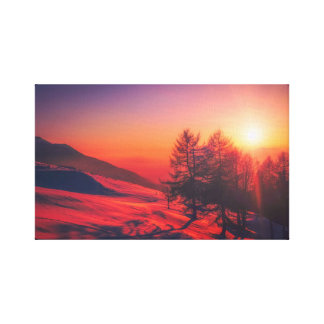 Lienzo Puesta del sol italiana de la montaña - rojo vivo