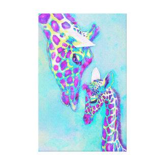 Lienzo púrpura cariñosa y aguamarina de las jirafas