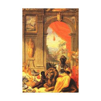 Lienzo Reina e hijo africanos con el león en palacio