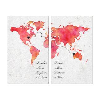 Lienzo Relación de la distancia del mapa del mundo de la
