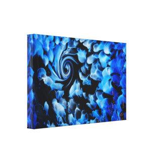 Lienzo remolino abstracto negro y azul