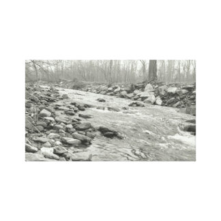 Lienzo Río que fluye blanco y negro en lona