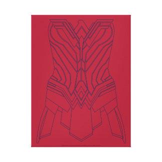 Lienzo Rojo de la Mujer Maravilla y esquema de la