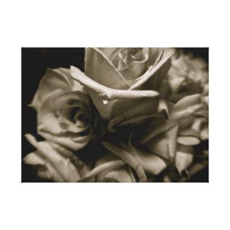 Lienzo Rosas blancos y negros dramáticos