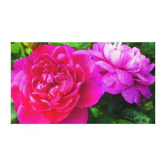 Lienzo Rosas con rocío de la mañana