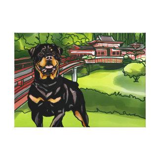 Lienzo Rottweiler en Byodo-En el templo, Hawaii