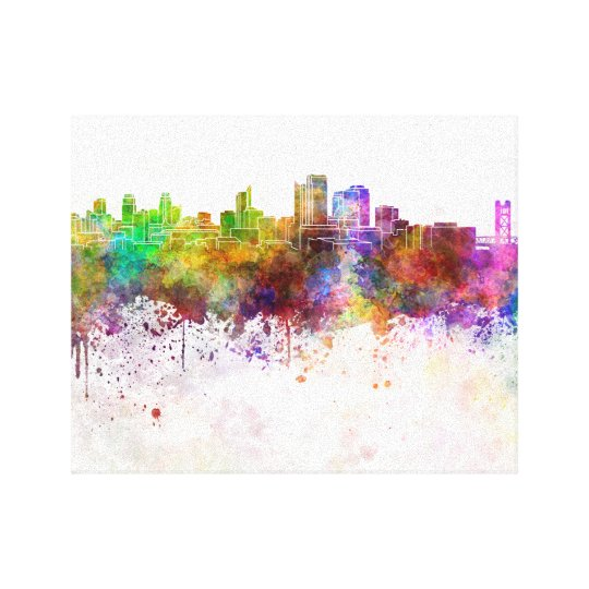 Lienzo Sacramento skyline in watercolor background