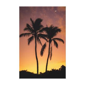Lienzo Salida del sol de dos palmas