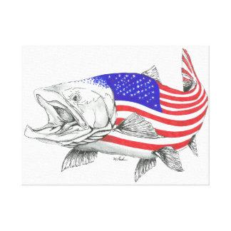 Lienzo Salmones principales de acero americanos
