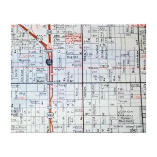 Lienzo SAN BERNADINO, mapa del vintage de CA