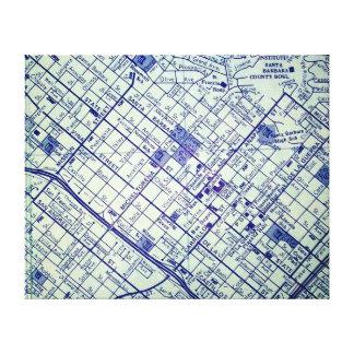 Lienzo SANTA BARBARA, mapa del vintage de CA