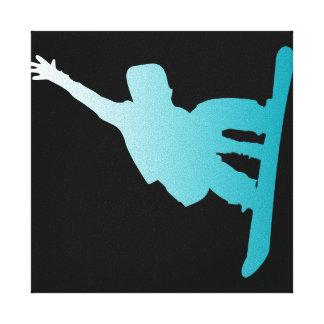 Lienzo snowboarder del azul de la pendiente