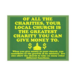 Lienzo Su iglesia es la caridad más grande