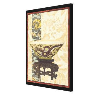 Lienzo Tapicería asiática con diseño del cuenco y del