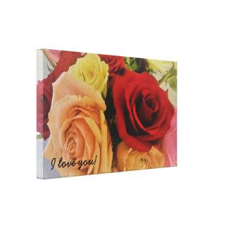 Lienzo Te amo rosas románticos lindos