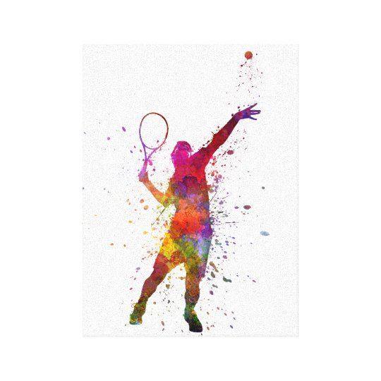 Lienzo tennis player at service serving silhouette 01