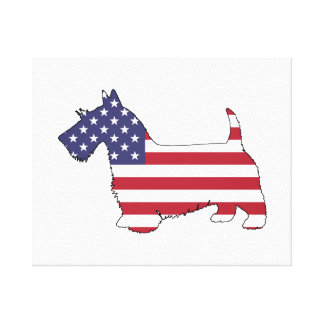 "Lienzo Terrier escocés - ""bandera americana """