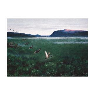 Lienzo Theodor Kittelsen los doce patos salvajes