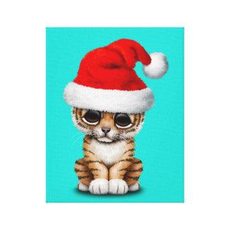 Lienzo Tigre Cub lindo que lleva un gorra de Santa
