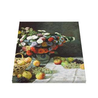 Lienzo Todavía vida con las flores y la fruta de Claude