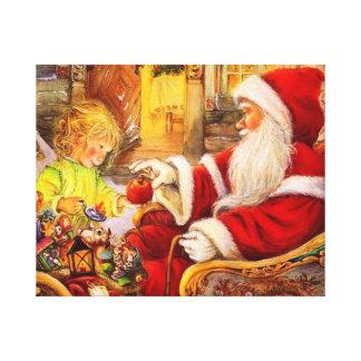 Lienzo Trineo de Santa - ilustracion de Papá Noel
