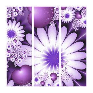 Lienzo Tríptico abstracto del fractal de las flores y de