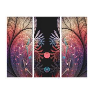 Lienzo Tríptico moderno abstracto del fractal de la