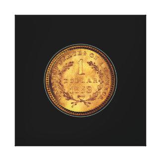Lienzo Un fondo negro de la moneda de oro del dólar 1853