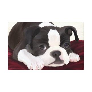 Lienzo Un pequeño terrier lindo de Boston digital pintado