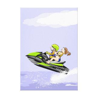 Lienzo Una pareja sale a toda velocidad en su jet ski