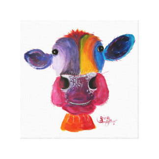 "Lienzo Vaca Nosey ""LouLou"" por Shirley MacArthur"