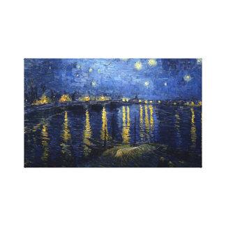 Lienzo Van Gogh: Noche estrellada sobre el Rhone