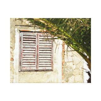 Lienzo Ventana de madera cerrada en una casa con palmtree