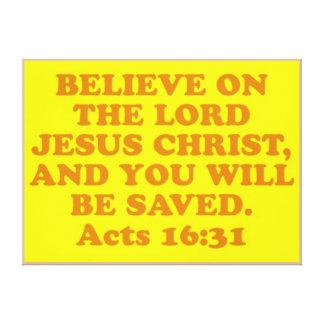 Lienzo Verso de la biblia a partir del 16:31 de los